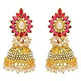 Aaishwarya Traditional Pink Jhumka Earri...