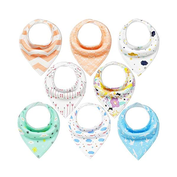 Baby Bandana Dribble Bibs 8 Pack Drool Bibs for Drooling and Teething Super Soft and Absorbent for Boys Girls by YOOFOSS …