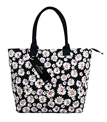 Canvas Tote Shopper Bag - Ideal Beach Bags - Holiday Shoulder Handbag Totes Shopping Style - 17 Floral Summer Print Designs - Daisy, Polka Dot, Wall Flower, Plain Navy Blue, Black - Quenchy London