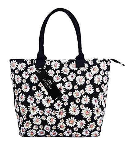 Canvas Tote Shopper Bag - Ideal Beach Bags - Holiday Shoulder Handbag Totes Shopping Style - 17 Floral Summer Print Designs - Daisy, Polka Dot, Wall Flower, Plain Navy Blue, Black - Quenchy London (Black