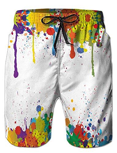 ALISISTER Herren Badehose 3D Weiße Farbe Grafik Badeshorts Herren Elastische Taille Hawaiian Beach Sport Shorts Schwimmhose für Herren M -