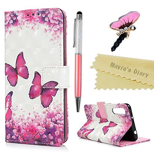 Huawei P20 Pro Hülle Case Mavis's Diary Handyhülle Leder Tasche Flip Cover Schutzhülle Skin Ständer Schale Stoßdämpfend Bumper Magnetverschluss Brieftasche Ledertasche Handytasche-Rose Schmetterling