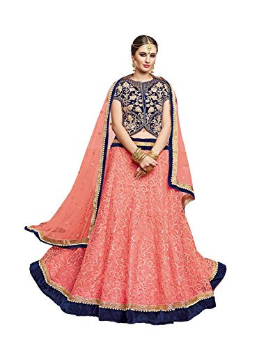 crazy bachat Indian Designer Bridal Pink Color Velvet & Knitted Semi Stitched Lehenga Choli