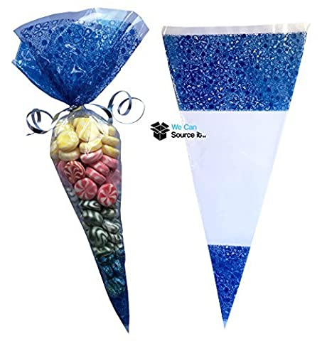50 Blue Cone Sweet Bags Large Size - Cello Party
