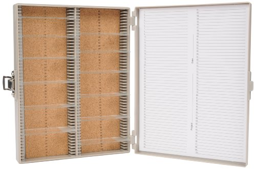 Heathrow Scientific HD15994F Microscope Slide Box, Cork Lined, 100 Place, 208 mm Length x 175 mm Width x 34 mm Height, Gray Test