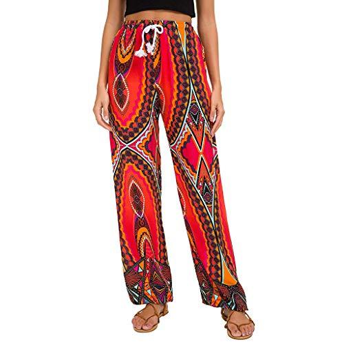 Dasongff Damen Hippie Haremshose Capri Thai Hose Leichte mit Taschen Dünn Boho Ethno Blumenmuster Muster Strand Sommerhose Yogahose Palazzohose - Knöchel-länge, Damen Jeans