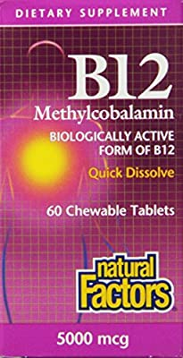 Natural Factors Methylcobalamin B12 5000mcg (5000mcg, 60 Sublingual Tablets) from Natural Factors