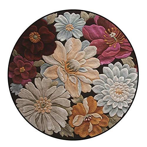 GJXY Alfombra Redonda de Terciopelo Suave con diseño de Flores Vintage para salón, Dormitorio, decoración...