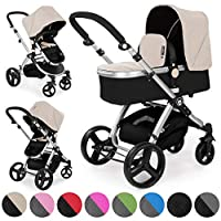 Froggy pushchair pram MAGICA baby stroller buggy 2in1 travel system with carrycot and child seat unit Sand