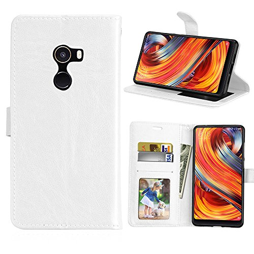 "Funda Xiaomi Mi Mix 2 Mix2/EVO 5.99"" Case,Bookstyle 3 Card Slot PU Cuero cartera para TPU Silicone Case Cover-Blanco"