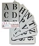Lettrage Pochoir Grands Chiffres et Lettres de L'Alphabet 7cm ROMAIN Majuscules sur 6 feuilles de 29.5 x 20cm