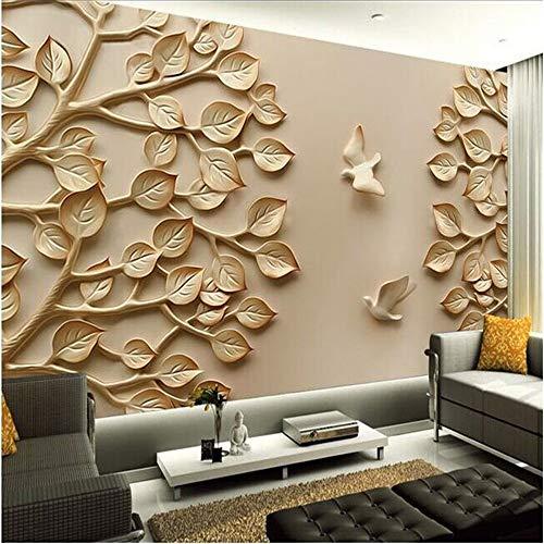 REAGONE Benutzerdefinierte 3D Fototapete Paniting Hintergrund Modernen Minimalistischen Schlafzimmer Höhle Wand Stereoskopischen 3D Relief Baum Raum 3D Wallpaper,300X210 Cm (118.1 By 82.7 In)
