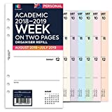 Nbplanner® accademico 2018–2019settimana su due pagine Mid, anno, in inglese organiser refill inserto Filofax compatibile colorata White