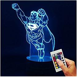 Superman Deko lámpara HE IS COMING (3d de discapacitados Illusion)