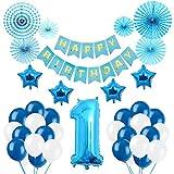 Weimi 1. Geburtstag Dekorationen Papier Fans Dekoration für Geburtstagsfeier (Blau)