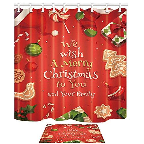 Weihnachtsdekor Wir wünschen Ihnen ein frohes Weihnachtsfest und Ihre Familie Titel und Geschenk Weihnachtsbaum und Socken und Süßigkeiten Duschvorhänge Set von KOTOM Badvorhänge 69X70 Zoll Indoor Bodenmatte Badteppiche 60x40cm