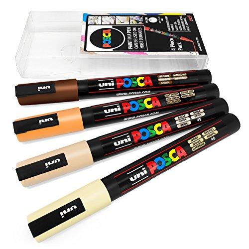 Uni Posca–PC-3M Art Peinture marqueurs–Lot de 4–Portefeuille en plastique–Tons de chair