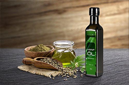 Natrea Bio Hanföl rein nativ | kaltgepresst aus 1. Pressung ✔ 100% reines BIO-Öl ✔ in 250 ml Lichtschutzflasche (1 x 0,25 l) - 4