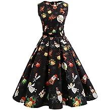 KOLY Vestito di Natale delle Donne Pin Up Swing Senza Maniche Dress del  Pannello Vintage Stampato aa3c865486c