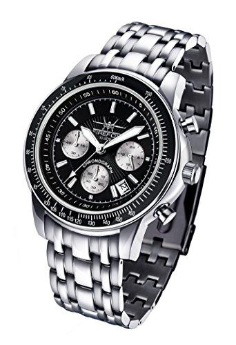 FIREFOX AIRLINER FFS04-102c schwarz Chronograph massiv Edelstahl Sicherheitsfaltschließe Herrenuhr Armbanduhr 10 ATM wasserdicht