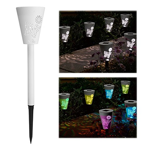 Lumière Solaire Jardin Papillon 3Pcs Plastique Extérieure Chemin LED Lumière Chemin Empreintes Silhouette Papillon Pelouse Lumières avec Changement de Couleur