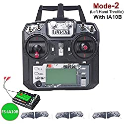 Flysky FS-i6X Transmisor (10CH, 2.4GHz, AFHDS 2A) RC Transmitter con Flysky Ia10B Receptor for FPV Racing RC Drone Quadcopter by LITEBEE (Mode-2 Left Hand Throttle)