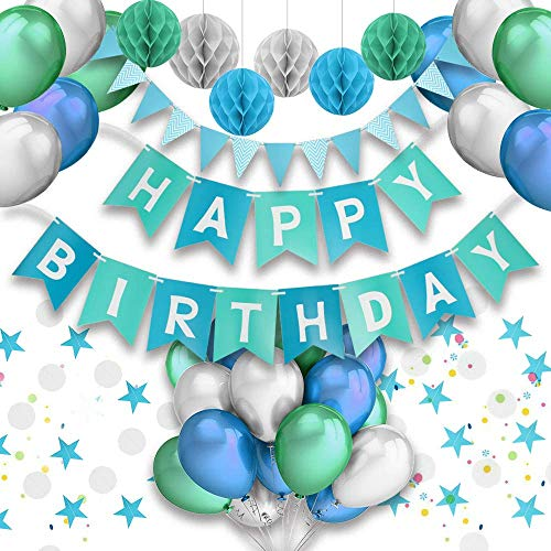 agsdeko, Party Deko Set Blau Alles Gute zum Geburtstag Girlande Ballons Wabenbälle Dreieck Flag String Runde String für Mädchen Jungen Männer Frauen ()