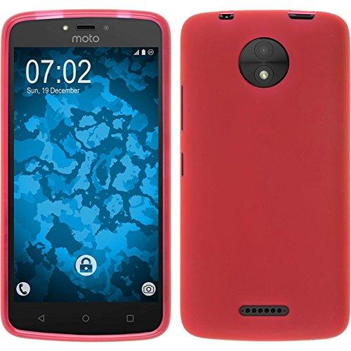 PhoneNatic Case für Lenovo Moto C Plus Hülle Silikon rot, matt + 2 Schutzfolien