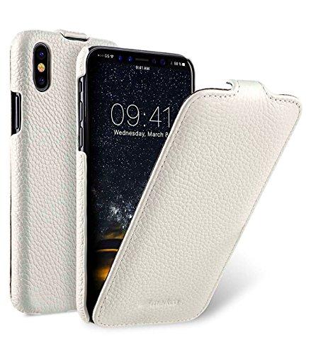 Edle Tasche für Apple iPhone XS und iPhone X / Case Außenseite aus beschichtetem Leder / Schutz-Hülle aufklappbar / Flip-Case / Etui / ultra-slim / Cover Innenseite aus Textil / Weiß