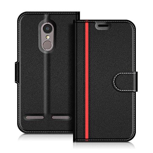 COODIO Lenovo K6 Hülle Leder Lederhülle Ledertasche Wallet Handyhülle Tasche Schutzhülle mit Magnetverschluss/Kartenfächer für Lenovo K6, Schwarz/Rot