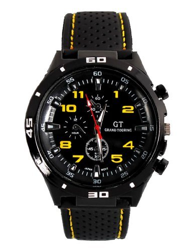 GT Racer Sport Armbanduhr Military Pilot Aviator Armee Style schwarz Silikon Gelb Herren Uhren (Ata Arms)