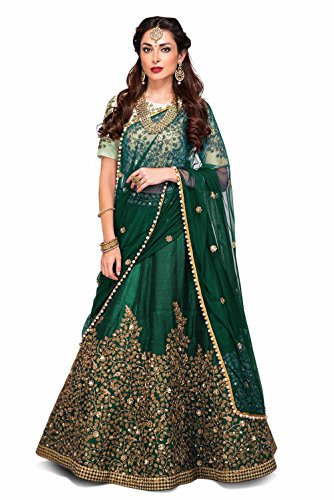 Zeel Clothing Green Silk Embroidered Party Wear Lehenga Choli with blouse &...