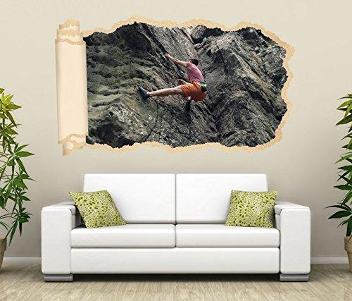3D Wandtattoo Freeclimbing Felsen Klettern Extrem Tapete Wand Aufkleber Wanddurchbruch Deko Wandbild Wandsticker 11N1649, Wandbild Größe F:ca. 97cmx57cm