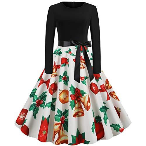 Fascino-M Vintage da Donna Abiti di Natale addobbi Natalizi Partito di Sera Abito a Ginocchio Abito da Cocktail Abiti Principessa Vestitini Invernali Swing Vestito con Cintu