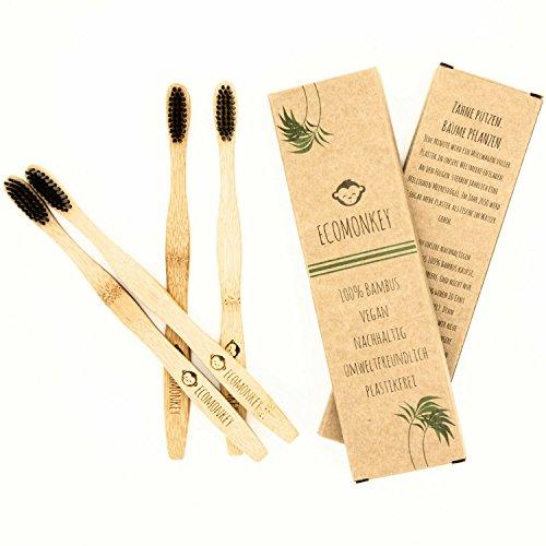 Ecomonkey ♻ Die nachhaltigen Bambus Zahnbürsten im 4er Set + 100% vegan + 100% BPA-frei + weiche Borsten