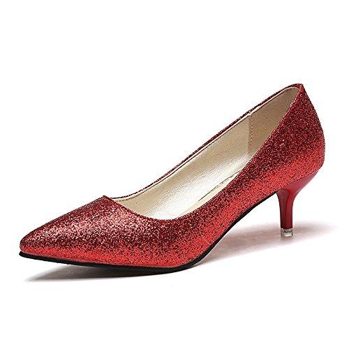 Dimaol Chaussures Femme Pu Printemps Automne Talons Confort Stiletto Talon Astuce Pour Bureau Extérieur Et Carrière Rouge Argent Or Noir Rouge