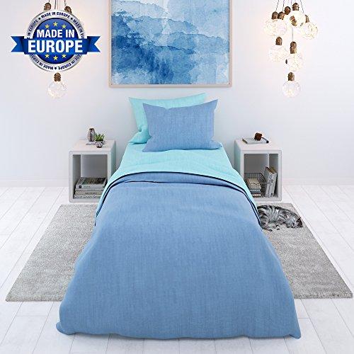 Bettwäsche, 2-teilig, Zweifarbig (Blau-Türkis) - Deckenbezug (135x200 cm) und 1 Kissenbezug (50x75 cm) aus Baumwolle - Sehr weicher Stoff 57 Fäden - In Europa hergestellt - OEKO TEX zertifiziert