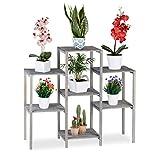 Relaxdays Blumentreppe Holz, Shabby Chic, Innenbereich, Wohnzimmer, Pflanzenregal, 7 Ablagen, HBT 86 x 95 x 29 cm, grau, L