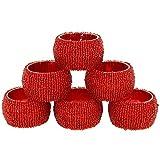 ShalinIndia Perlen Serviettenringe Satz von 6 Rot Verzierungen Partei Ornamente