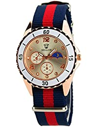BELLOS-Damen Armbanduhr-Gold-Quarz-Modus-Stahl-Armband Baumwolle blau rot new