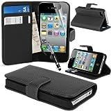 MadCase Étui portefeuille en cuir bycast haute qualité pour Apple iPhone 4S/4 avec...