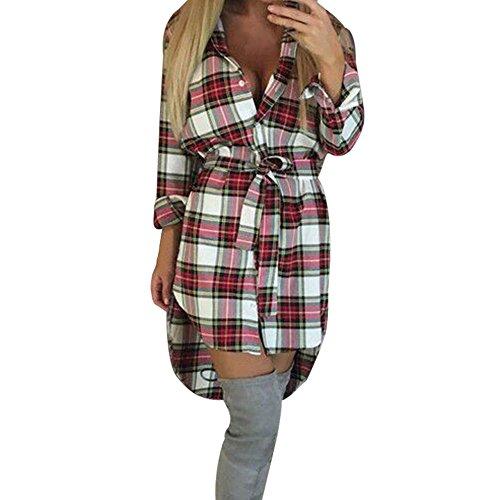 Honestyi Frauen dünne lange Hülsen Knopf beiläufige Plaid Bindungs Hemd Spielanzug Kleid lässig Printkleider Elegant Partykleider (M, Weiß)