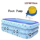 LYY Aufblasbares Badezimmer Pool gepolsterte Isolierung Baby Schwimmbad Badezimmer Kunststoff Falten Wanne Barrel (Farbe : Foot Pump)