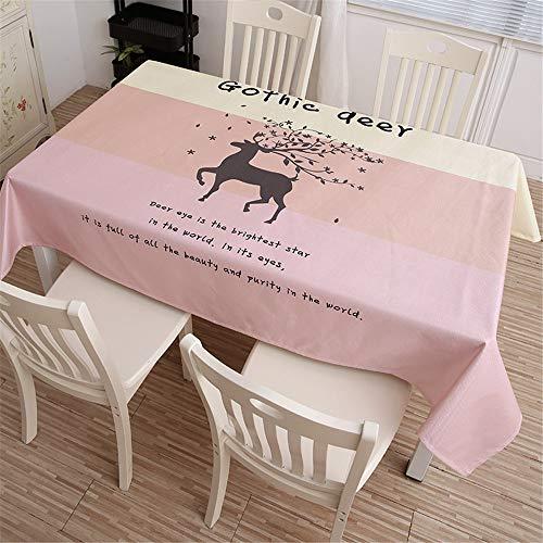 Baumwolle und Leinen Klein frisch Digitaldruck Rechteckige Tischdecke Ölbeständiges Antifouling Wiederverwendbare Mehrzwecktischdecke 140x200cm ()