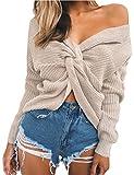 Junshan Damen Pullover langarm Casual V-Ausschnitt mit Knoten im Rücken sexy Pulli 36-44 8 Größe (38, Biege)