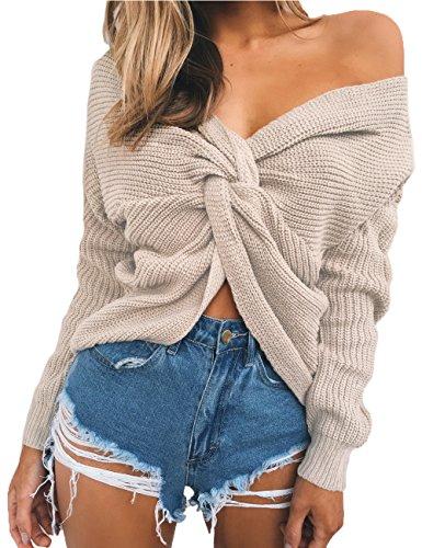Junshan Damen Pullover langarm Casual V-Ausschnitt mit Knoten im Rücken sexy Pulli 36-44 8 Größe (36, Biege) (März 8. Frauen)