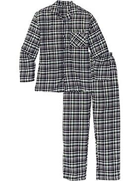 Versandhaus Hombre Franela Pijama en Webqualität, 243200 en Gris de Cuadros