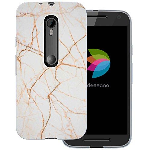 dessana Marmor Muster Transparente Silikon TPU Schutzhülle 0,7mm Dünne Handy Tasche Soft Case für Motorola Moto G3 Marmor Gold