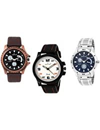 HASHTAG Analogue Multi-Colour Dial Men's Watch- HTC-TRIPLET3-Combo 3 Watches