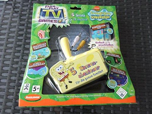 Preisvergleich Produktbild Spongebob Schwammkopf Nickelodeon 5 spiele TV Joystick (direkt an TV anschließen und los geht's) mit Patrick, Spongebob und Sandy Meeresabenteuer für die ganze Familie